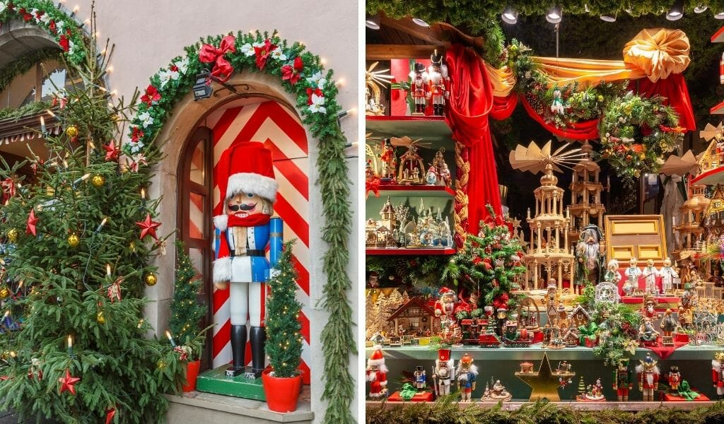 Split image: On the left: Large wooden Christmas figure  in front of red and white door with christmas decoration around it - On the right: Window display of a Christmas shop in Rothenburg ob der Tauber