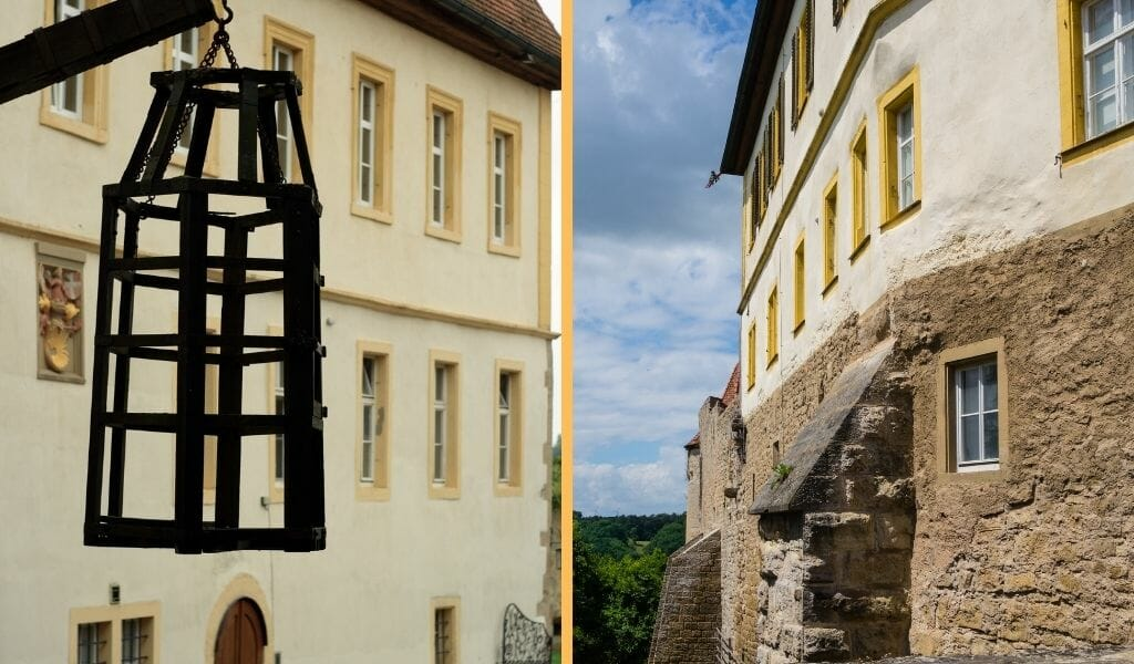 Split image: On the left: wall hook with rustic metal cage with white building in the background - On the Right: Outside photo of the Medieval Crime Museum Rothenburg ob der Tauber