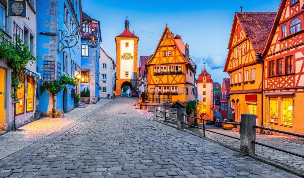 Rothenburg Germany - Medieval Fairytale town in Germany with half-timbered houses and cobblestoned streets at dusk