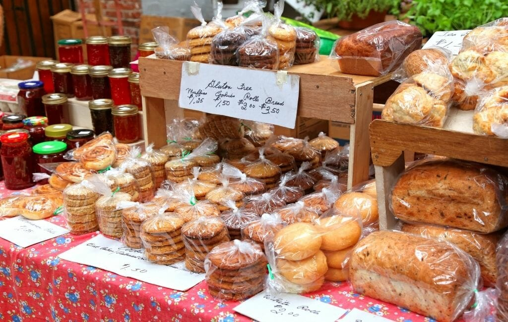 Selection of breads and pastries, and jams at a farmers market