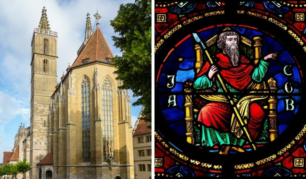 Split image -  On the left: Outside shot of St Jacob's Church and on the right stained glass depicting St Jakob