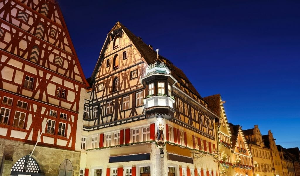 Timbered Houses Rothenburg ob der Tauber during Blue hour