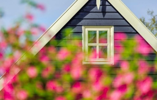 Blue house with white trim and white window with pink out of focus flowers in the foreground