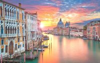Sunset over the Grande Canal in Venice - Romantic Venice-Honeymoon in Italy